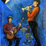 Jazz git-Tp-drums, blau, Acryl 50x70